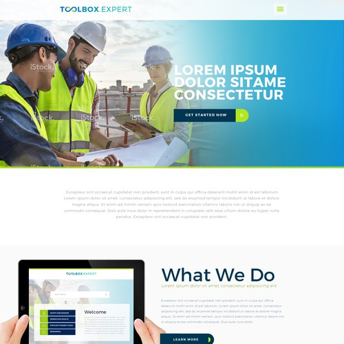 Workplace safety theme for an website and iPad app