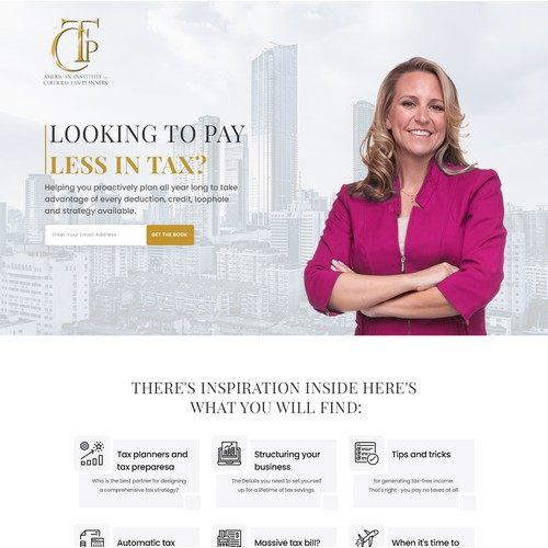 Landing Page to Advertise A Tax Advisory Book