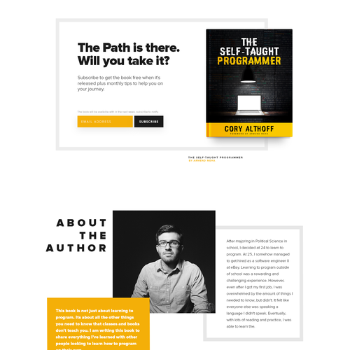 "Landing Page Design for ""The Self-Taught Programmer"""