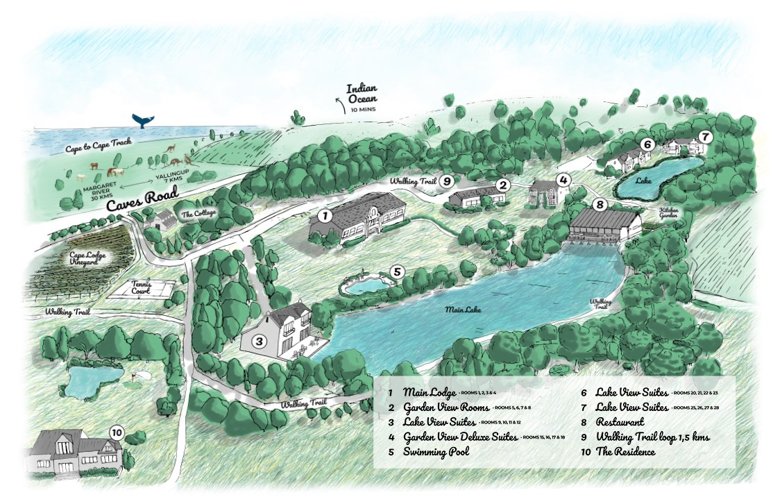 Sketch a Mud Map for luxury boutique hotel in Margaret River