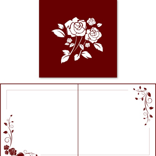 Create floral cover art for a beautiful paper floral pop-up greeting card