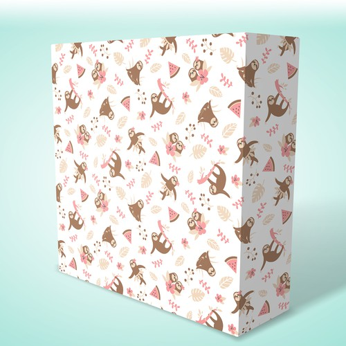 Sloth wrapping paper design