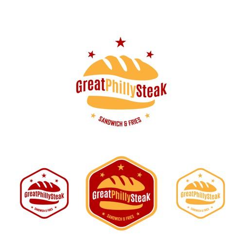 """Crear logotipo de sándwich de carne """"Steak"""" dando a conocer su nombre de origen Philly Steak"""