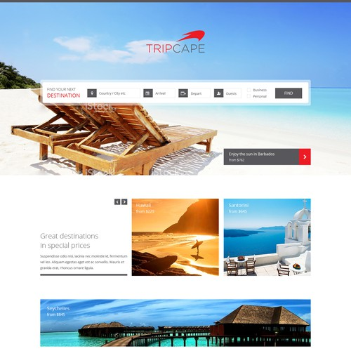 Exciting new TRAVEL website for Tripcape
