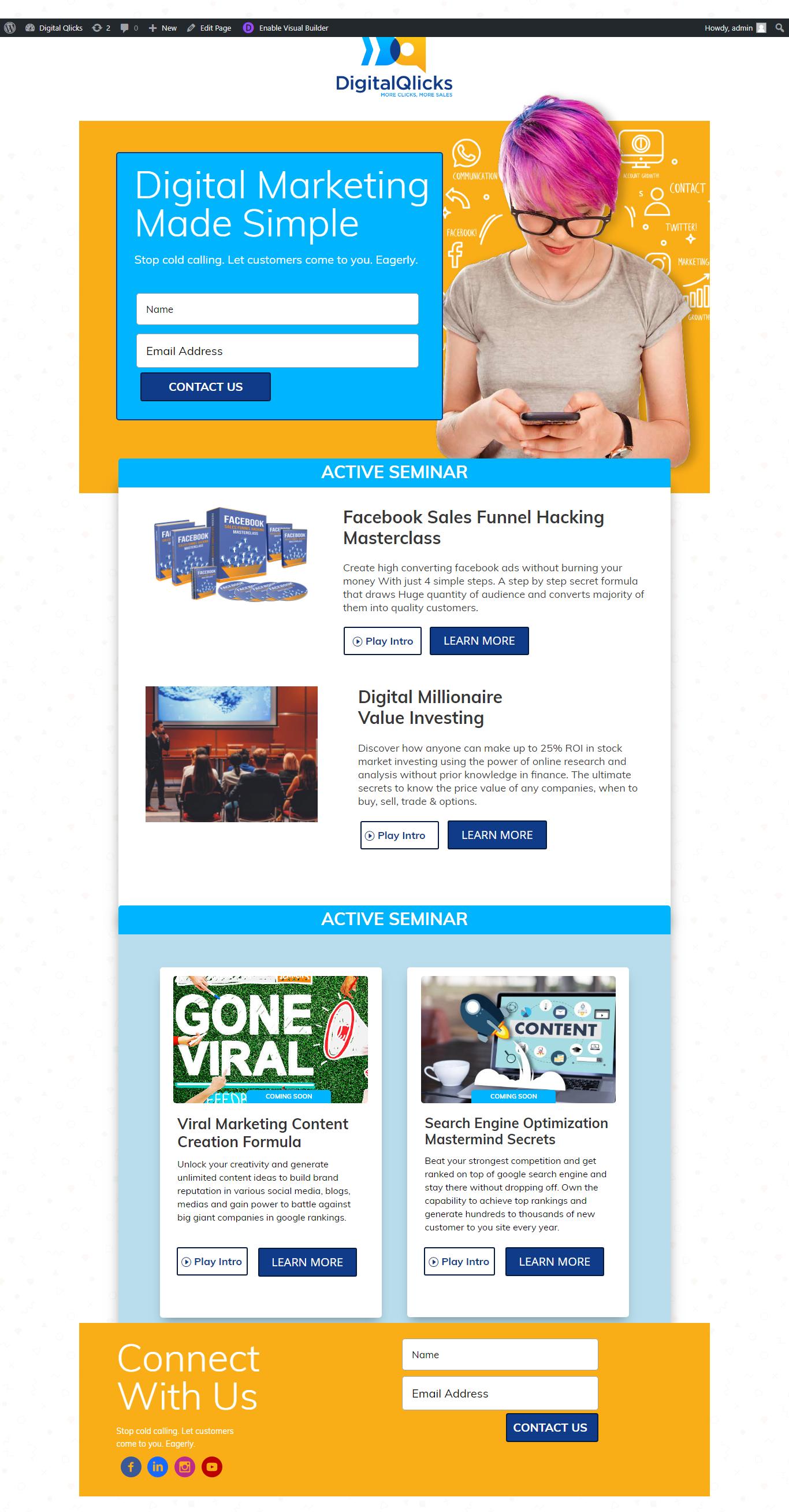 Digital Qlicks - Landing page upload & migration to divi