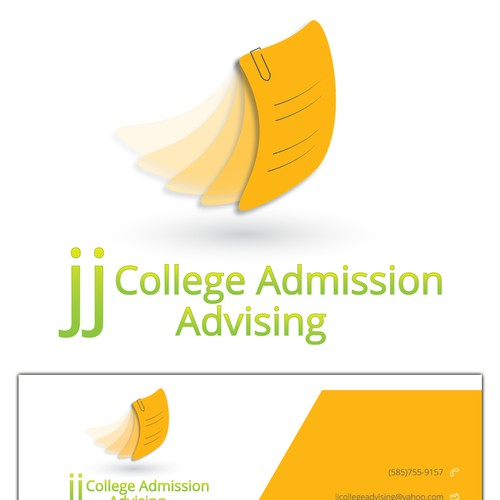 Create the next logo and business card for jj College Admission Advising