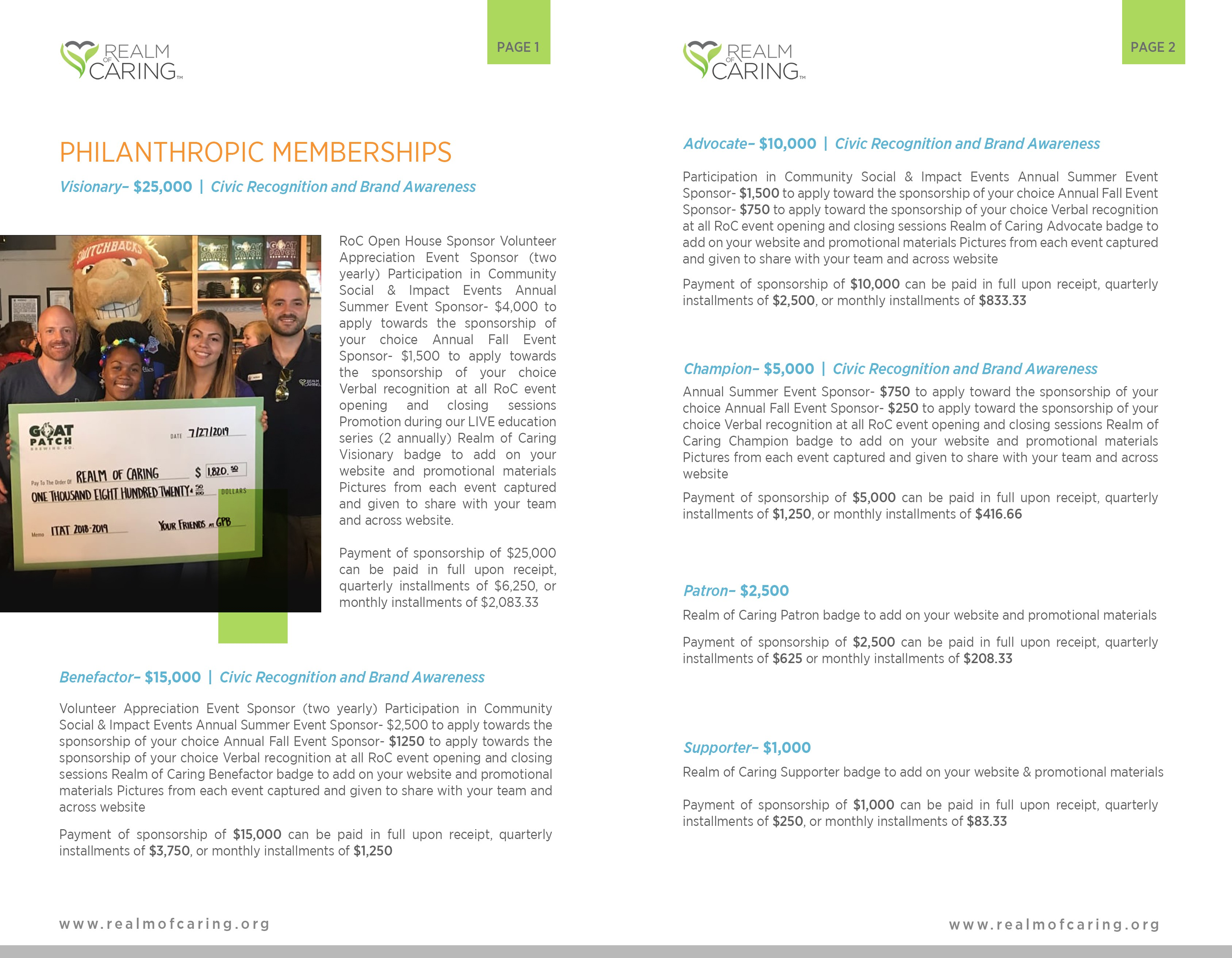Realm of Caring Nonprofit Sponsorship Package Design!