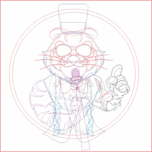Design A Tiger Wearing A Tuxedo, Top Hat, And Monocle