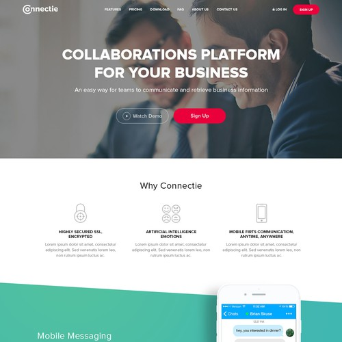 Connectie Landing page design