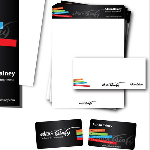 Create the next stationery for Adrian Rainey