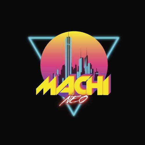 Retro futuristic cyberpunk logo
