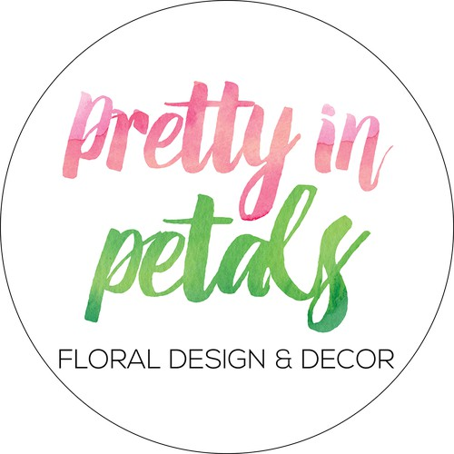 Watercolour round logo design for florist