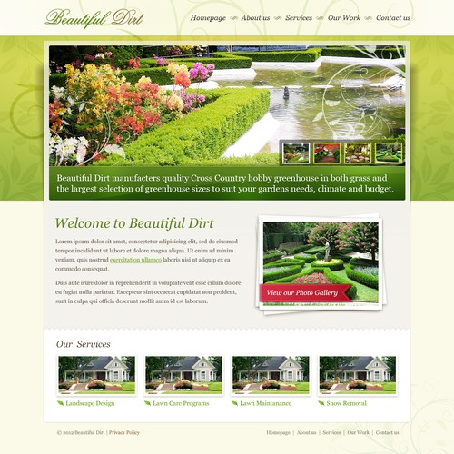 website design for Beautiful Dirt - Landscaping Services