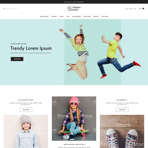 Homepage design for kids fashion clothes store in Denmark