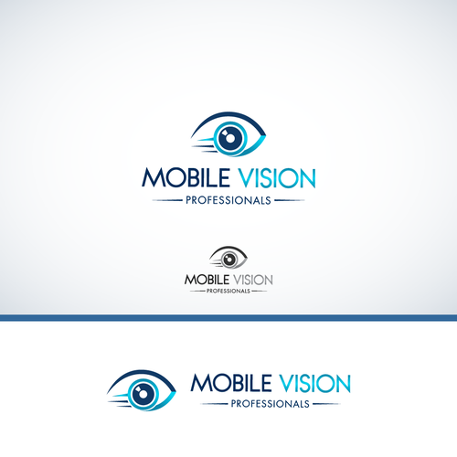 Create a logo and design concept for a mobile eye care practice.