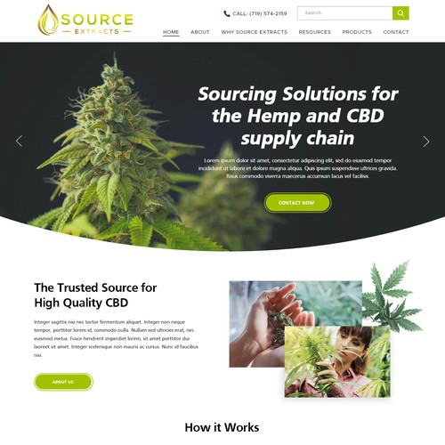 Homepage Design for Cannabis CBD Oil Extraction Startup