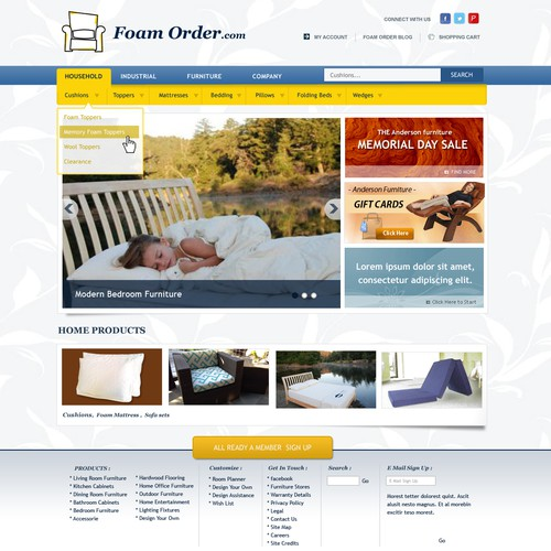 New home page design for Foam Order.com