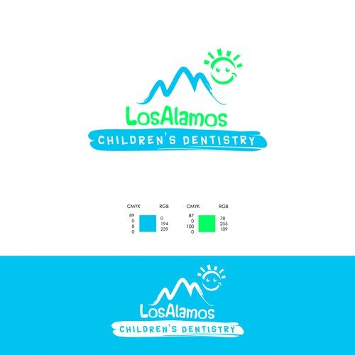 Create a fun, simple, modern logo for a pediatric dental clinic in a small town in the mountains