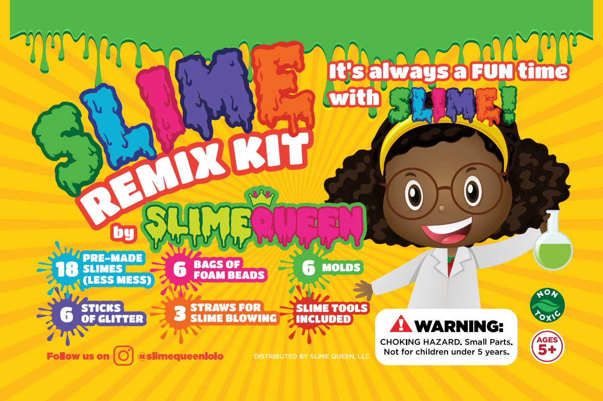 Product label for slime kit, 8 year old girl
