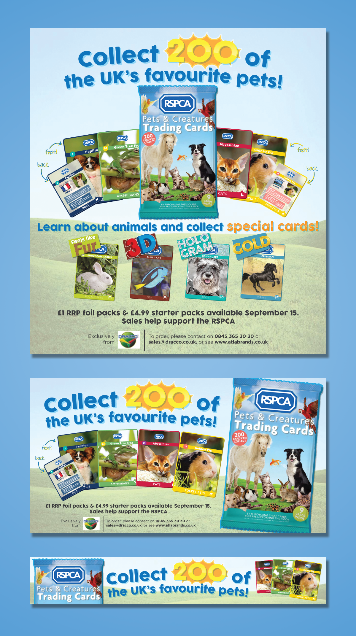 Make a amazing ad for RSPCA Animal trading cards