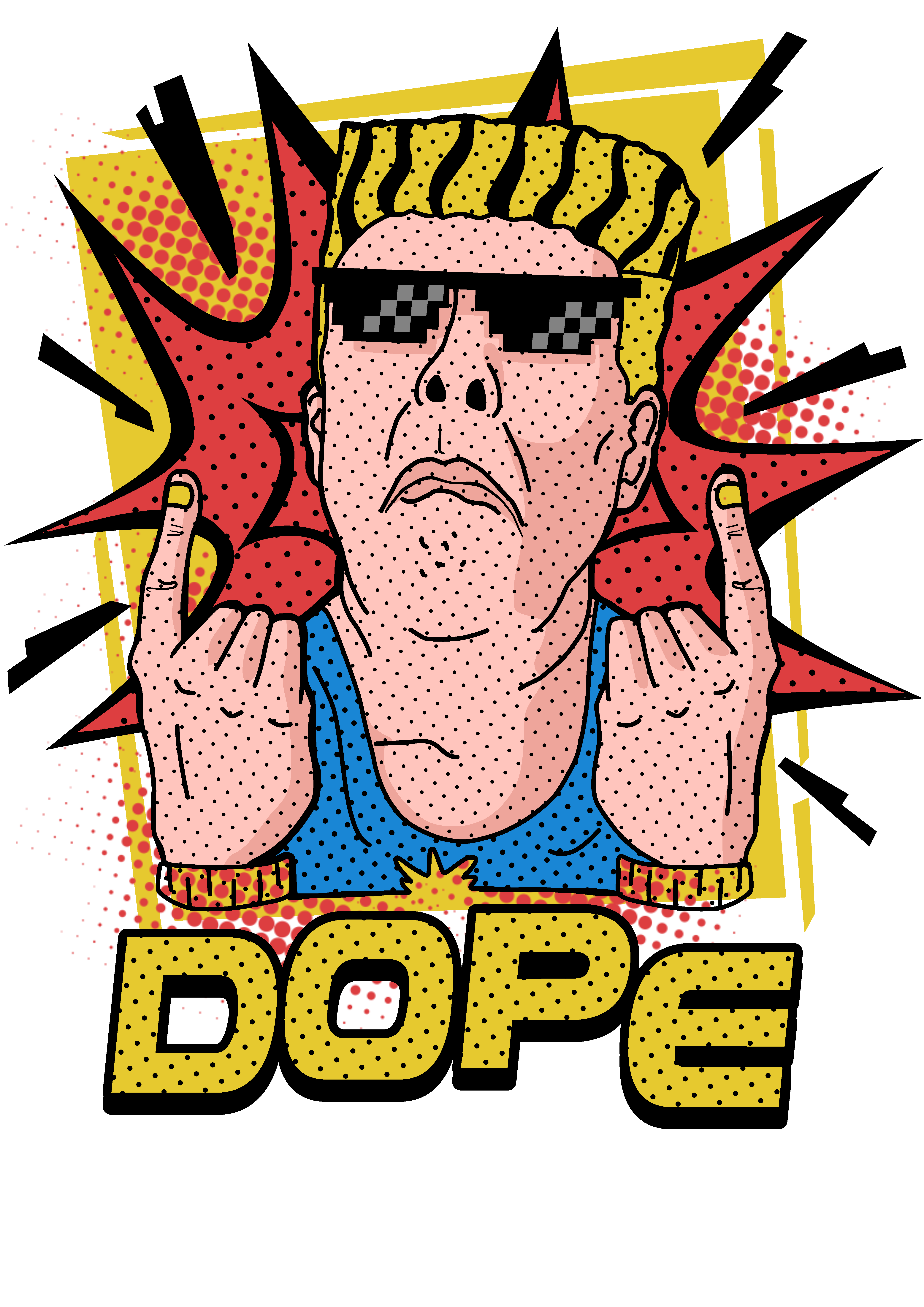 Create a funny, creative t-shirt in pop art culture style
