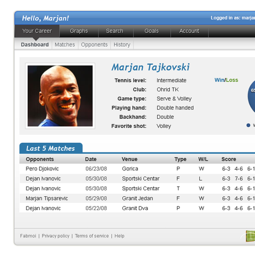 Inner page for tennis tracker website