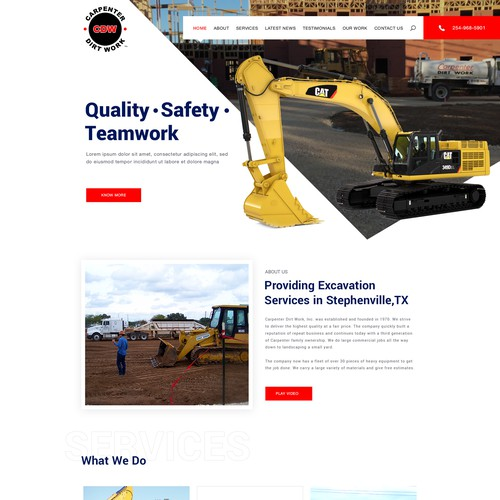 Homepage Design for Carpenter Dirt Work