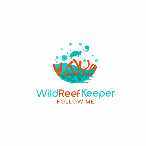 a creative logo for coral reef tank keeper .