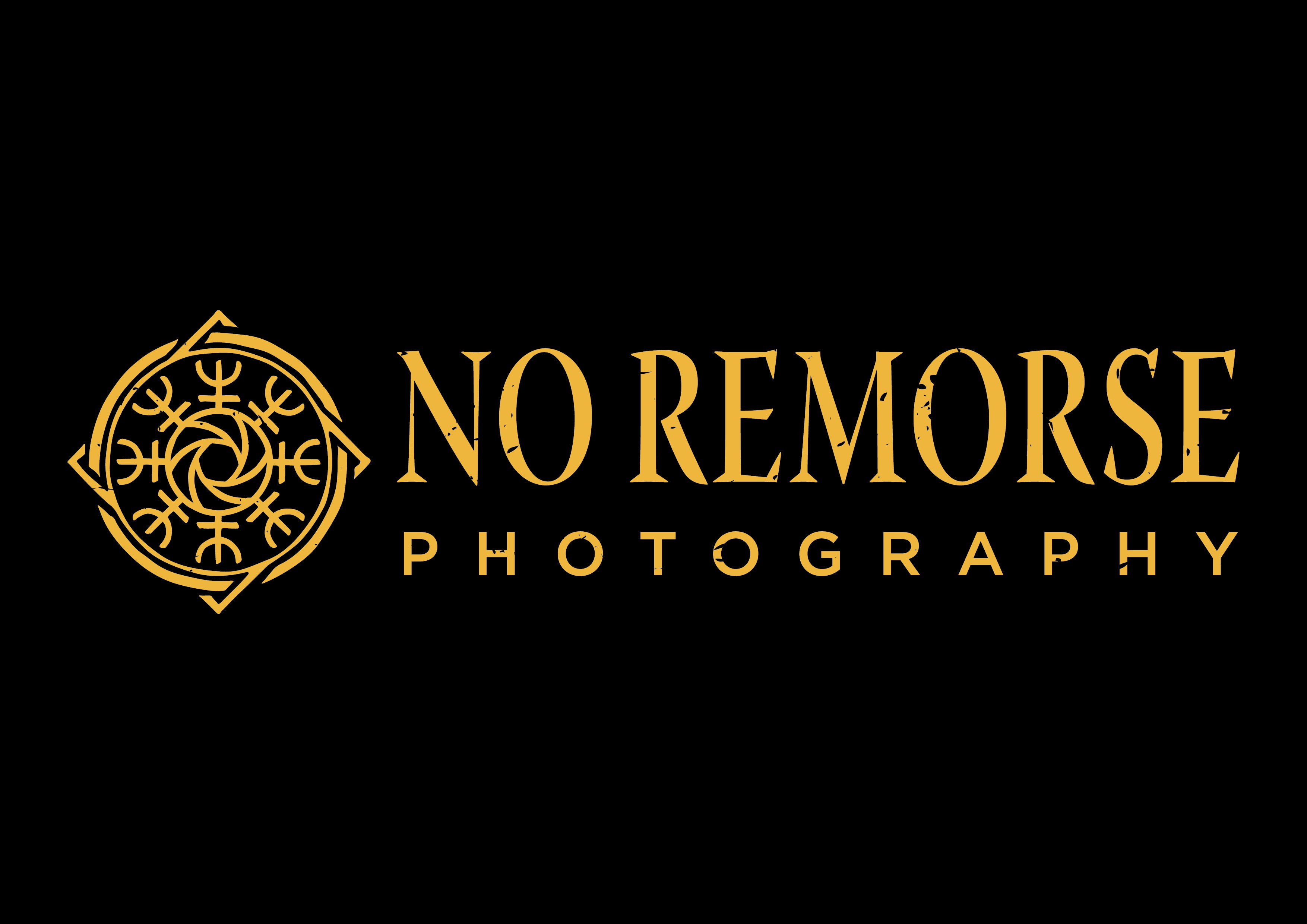 Create a dark and classical logo for No Remorse Photography.