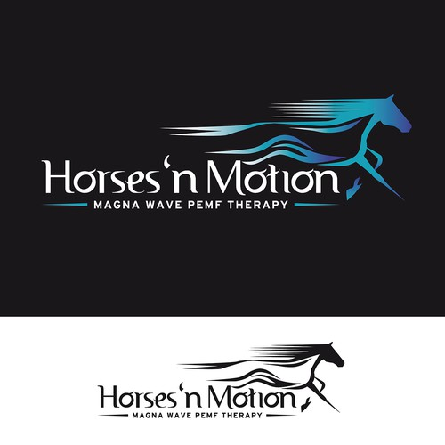 Unique equine logo showing motion