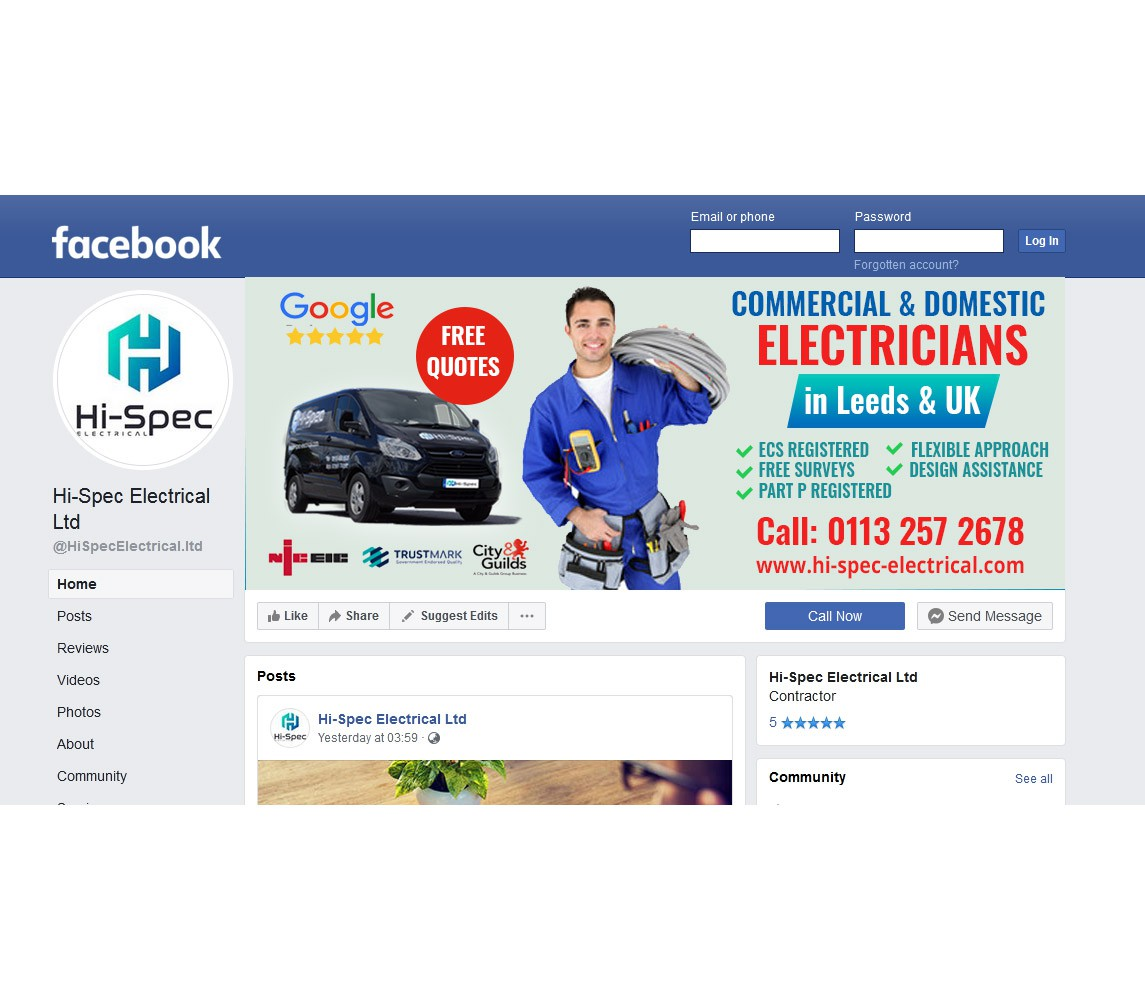 Design a Great looking cover photo for Electricians website and Facebook page