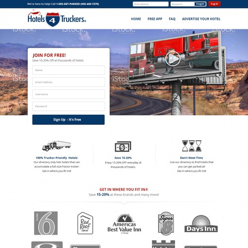 Hotel4Truckers Landing Page