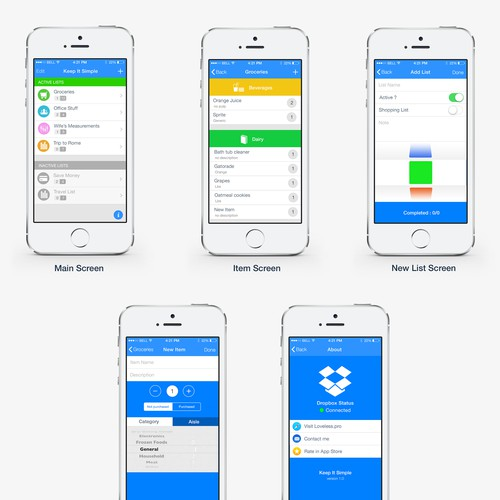 Create a design for a new iPhone app exclusively for iOS 7.
