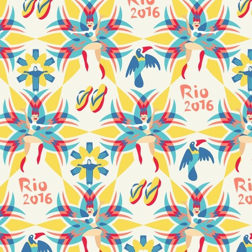 Rio pattern. Carnival dancers and Christ the Redeemer.
