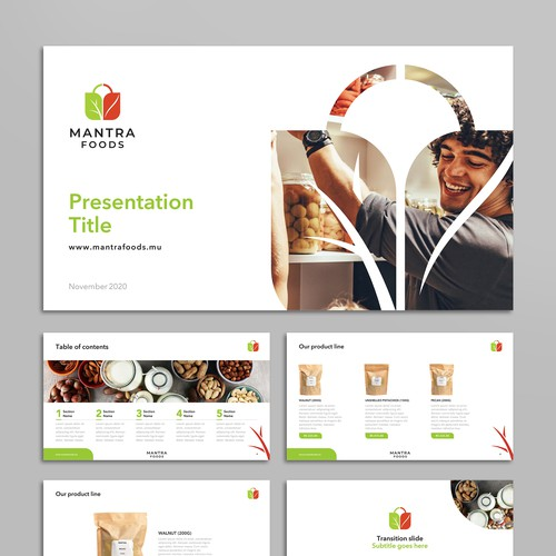 Crisp presentation template for organic products