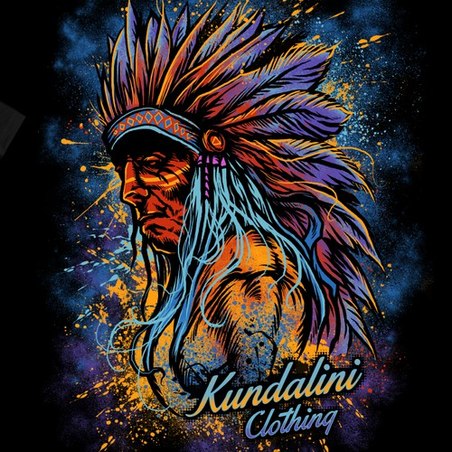 Psychedelic Indian T shirt design