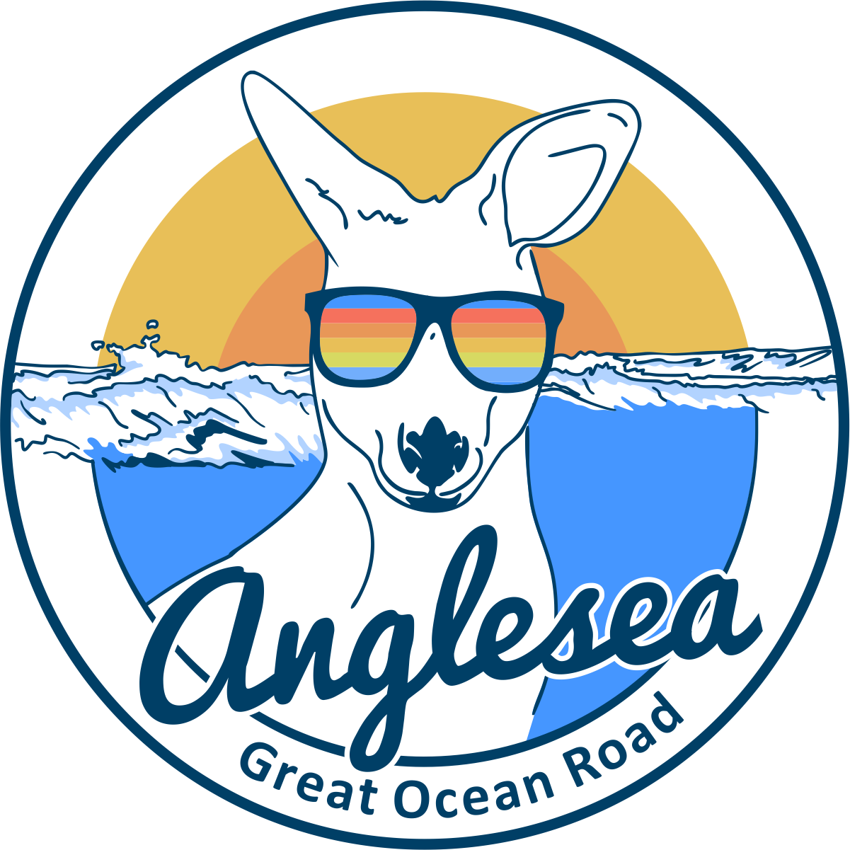 Design a 'surfer vibe' sticker for a beach town.