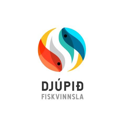Two symmetrical fish logo