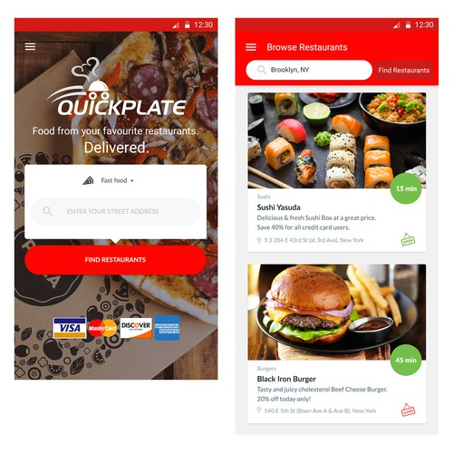 QuickPlate Mobile App Design for delivery service