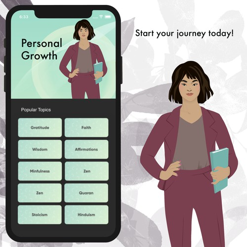 Mockup for popular motivation app