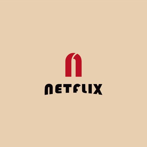 The Netflix logo with a Bauhaus treatment