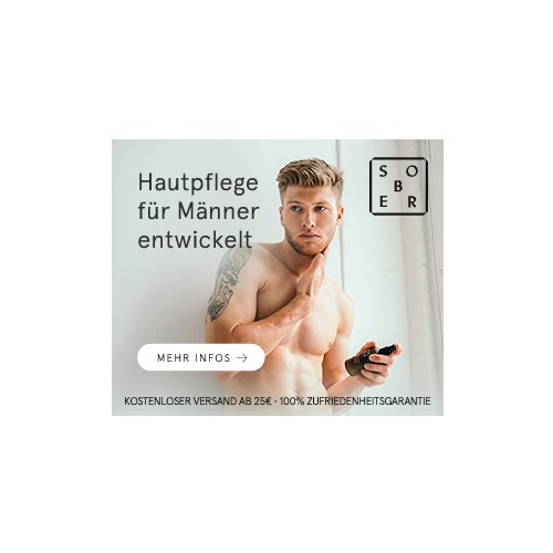 Banner ad for Men's Cosmetic and Perfume brand