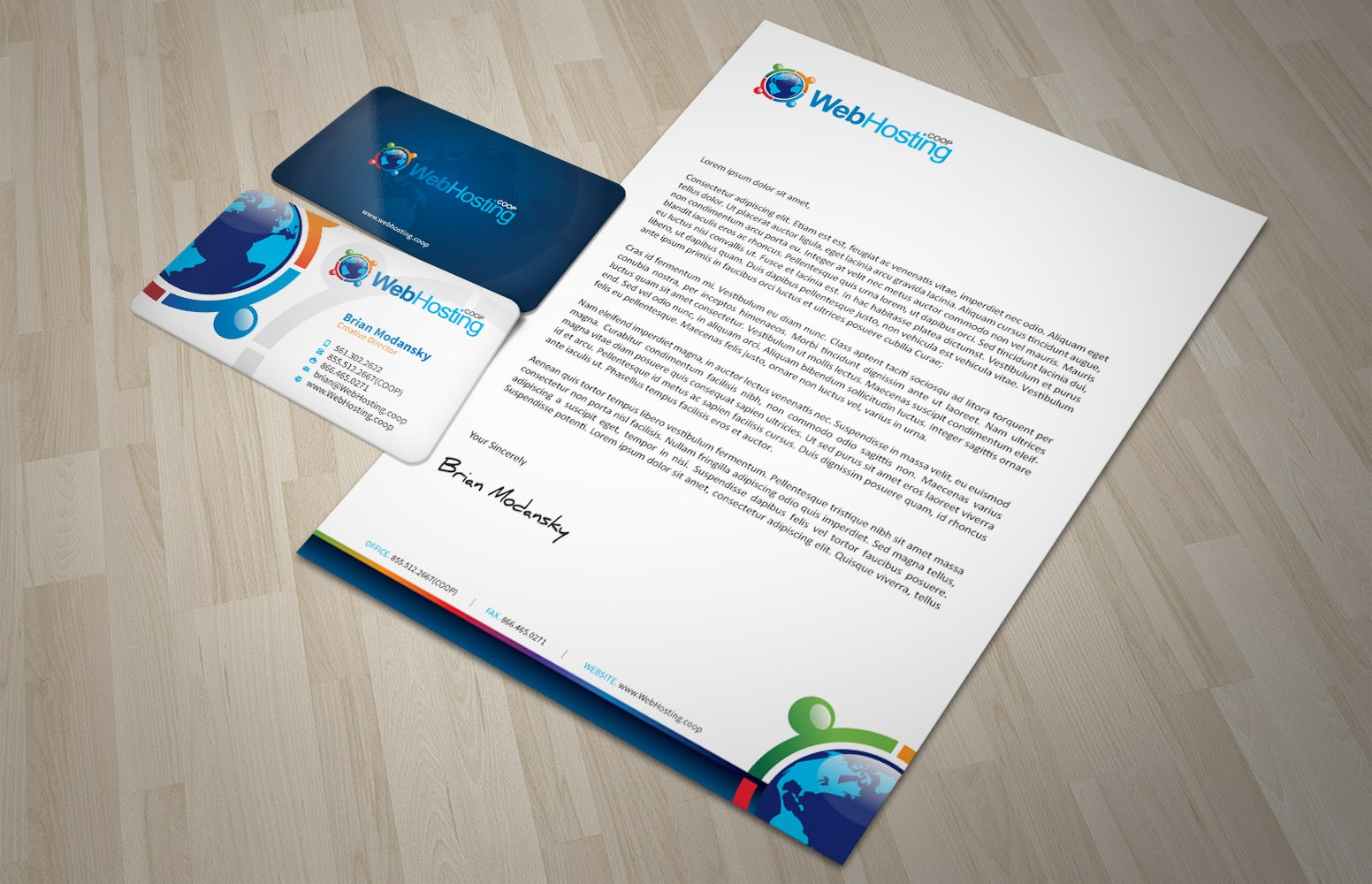 Create Business Card Design / Email Template for WebHosting.coop