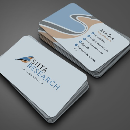 abstract logo concept with business card mockup for Sitta Reasearch