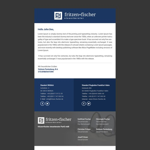 Email Newsletter for Fritzen