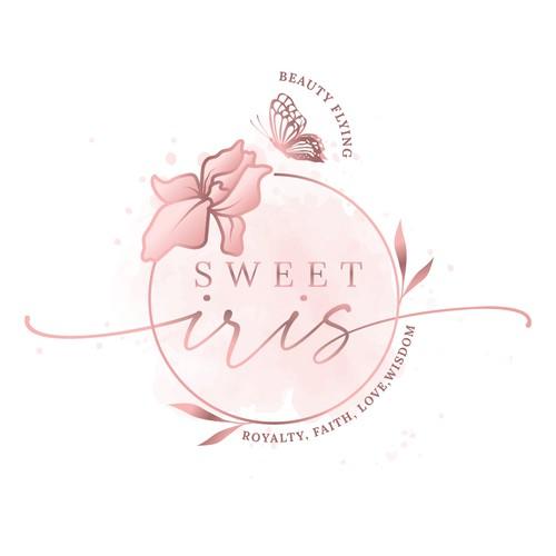 Feminine and elegant iris logo design concept for a retail brand