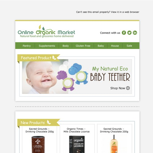 Email newsletter template for Online Organic Market