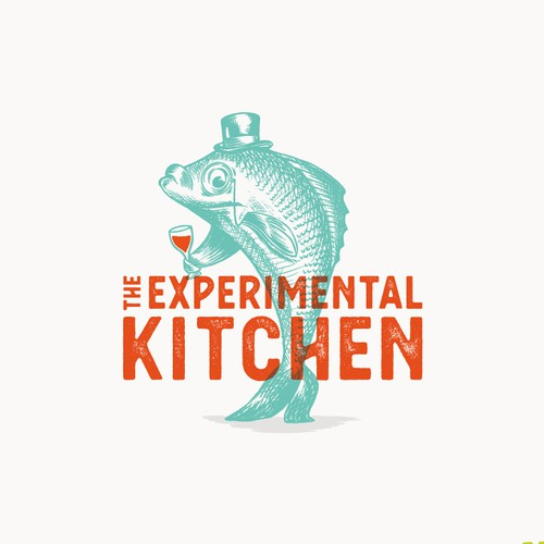 Illustrated neo vintage fish logo