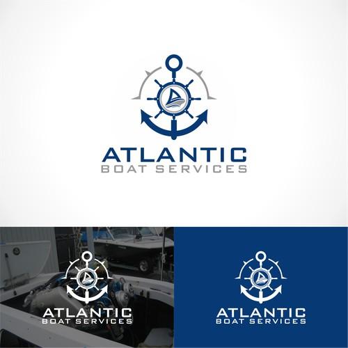 logo concept for Atlantic boat Service