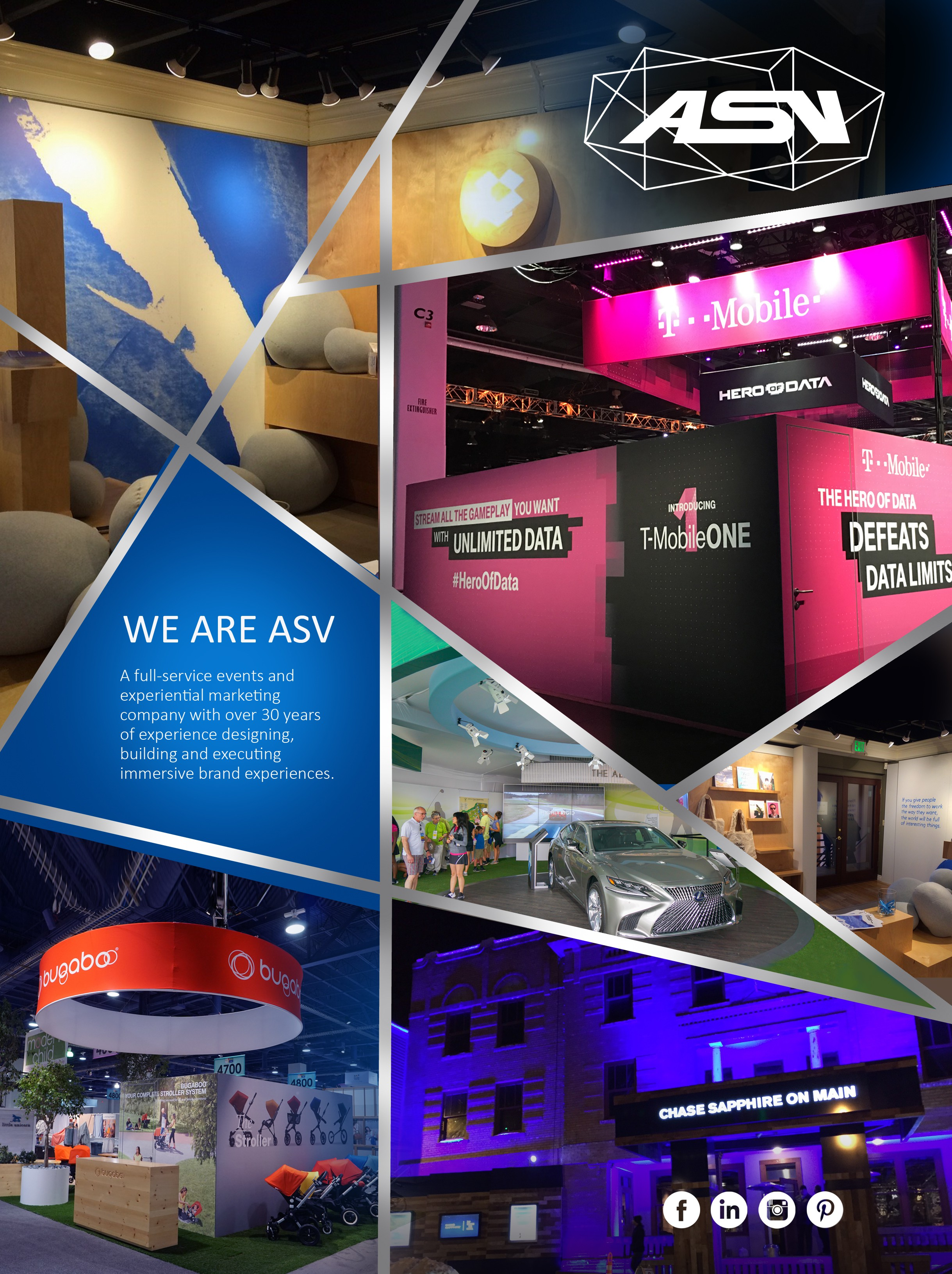 Create a one page print ad for Experiential Marketing company, ASV